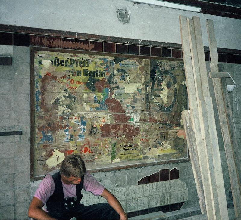 Worker in Closed Potsdamer Platz Station, Berlin U-Bahn 1991 Click image above to close this window