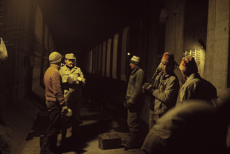Workers in Station Under Construction, Warsaw Metro 1989