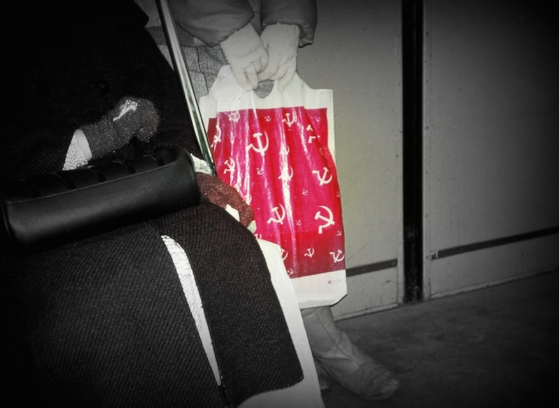Shopping Bag in Train Car, Moscow Metro 1991