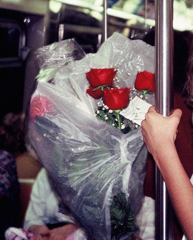 Flowers Inside of Train Car, New York Subway 1992