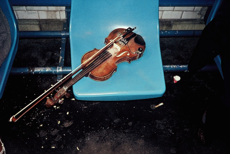 Violin Left on Seat on Platform, Paris Metro 1992