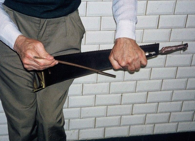 Old Man Making Sound Waves with Wood Cutting Saw, Paris Metro 1992