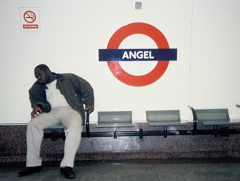 Sleeping Man in Angel Station, London Underground 1993