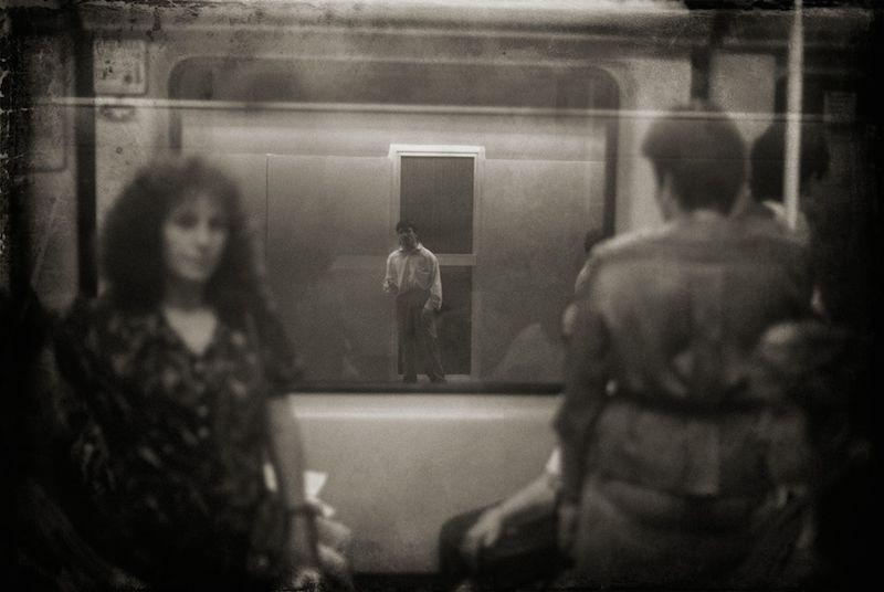 Paquito Seen Through Train on Opposite Platform, Barcelona Metro 1991