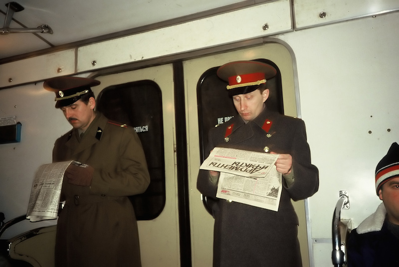 Soldiers inside of Train Car, Moscow Metro 1991